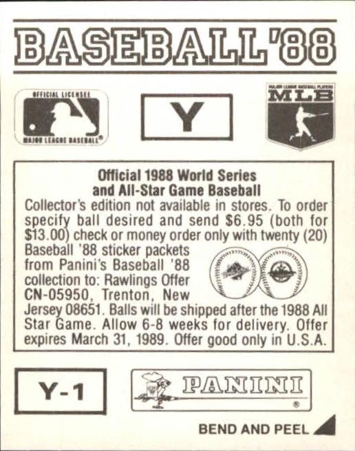 thumbnail 343 - 1988 Panini Stickers Baseball Cards 250-480 (A4394) - You Pick - 10+ FREE SHIP