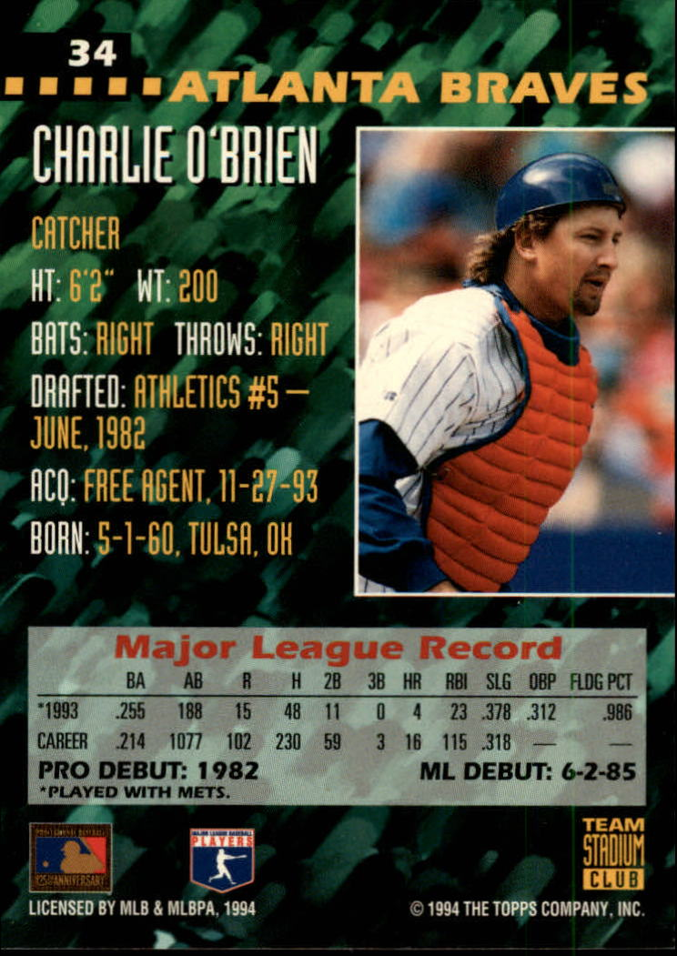 Details About 1994 Stadium Club Team Baseball Cards 1 200 A2779 You Pick 10 Free Ship