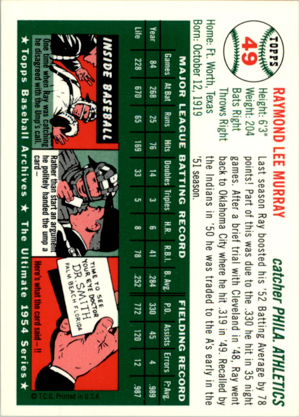 1994-Topps-Archives-1954-BB-Card-s-1-258-A1243-You-Pick-10-FREE-SHIP thumbnail 71