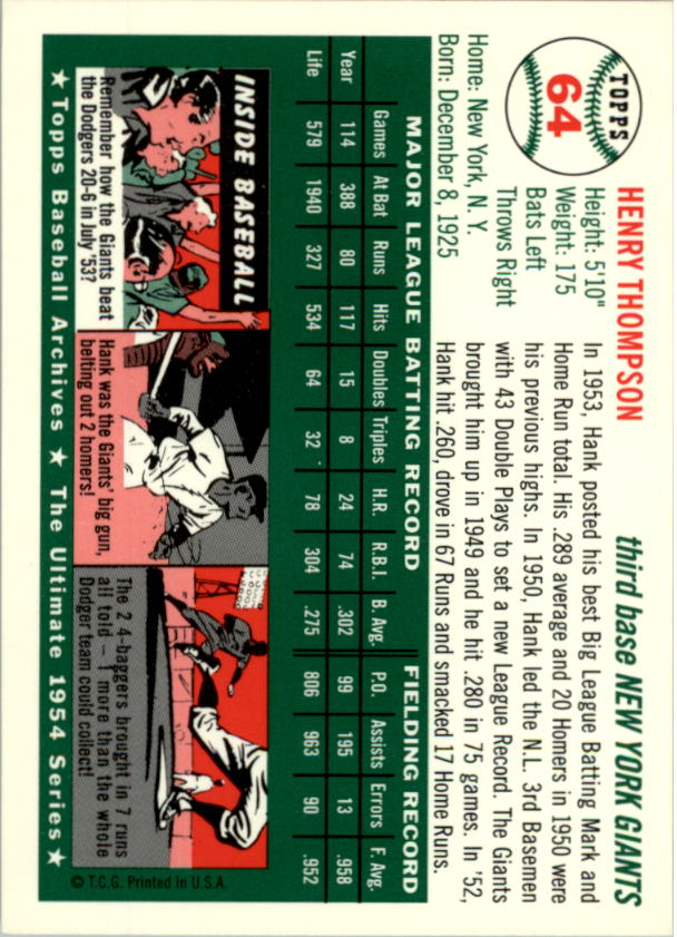 1994-Topps-Archives-1954-BB-Card-s-1-258-A1243-You-Pick-10-FREE-SHIP thumbnail 95