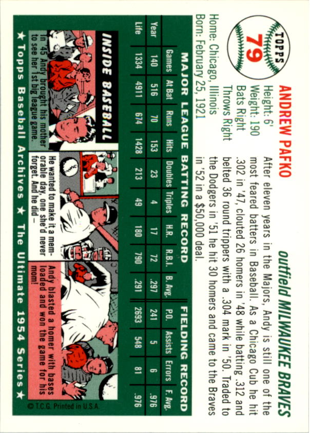 1994-Topps-Archives-1954-BB-Card-s-1-258-A1243-You-Pick-10-FREE-SHIP thumbnail 120