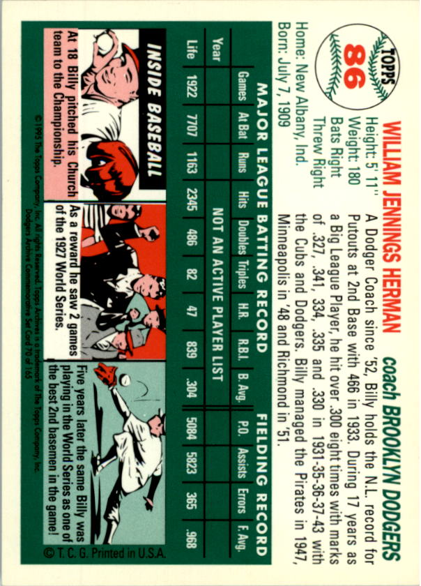 1994-Topps-Archives-1954-BB-Card-s-1-258-A1243-You-Pick-10-FREE-SHIP thumbnail 130