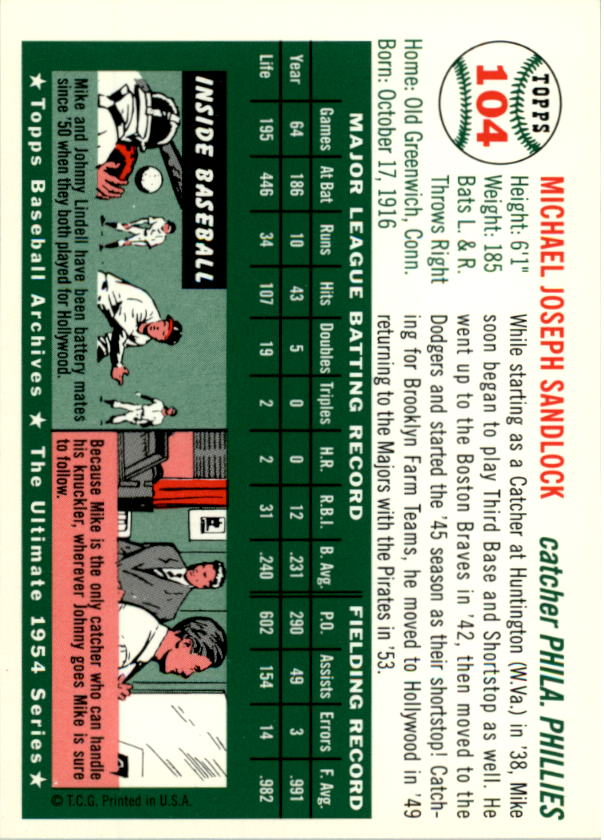 1994-Topps-Archives-1954-BB-Card-s-1-258-A1243-You-Pick-10-FREE-SHIP thumbnail 160