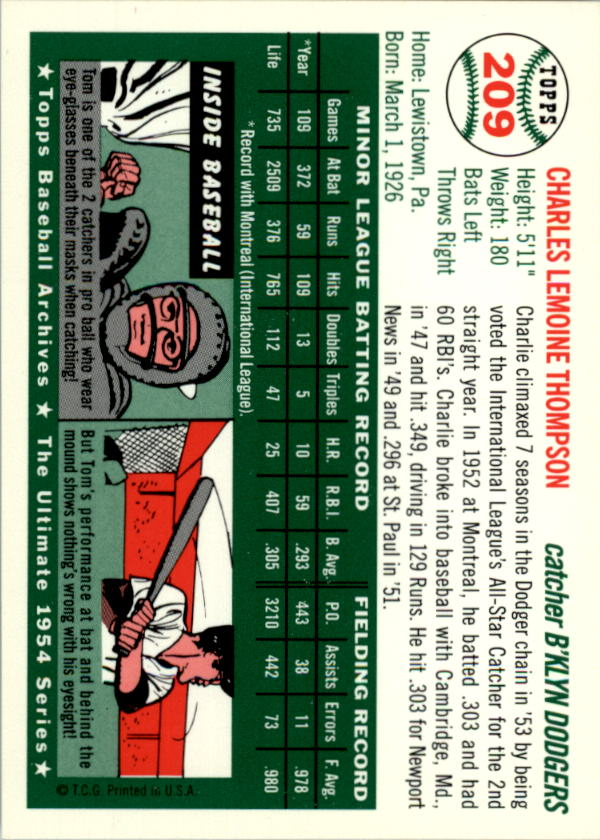 1994-Topps-Archives-1954-BB-Card-s-1-258-A1243-You-Pick-10-FREE-SHIP thumbnail 335