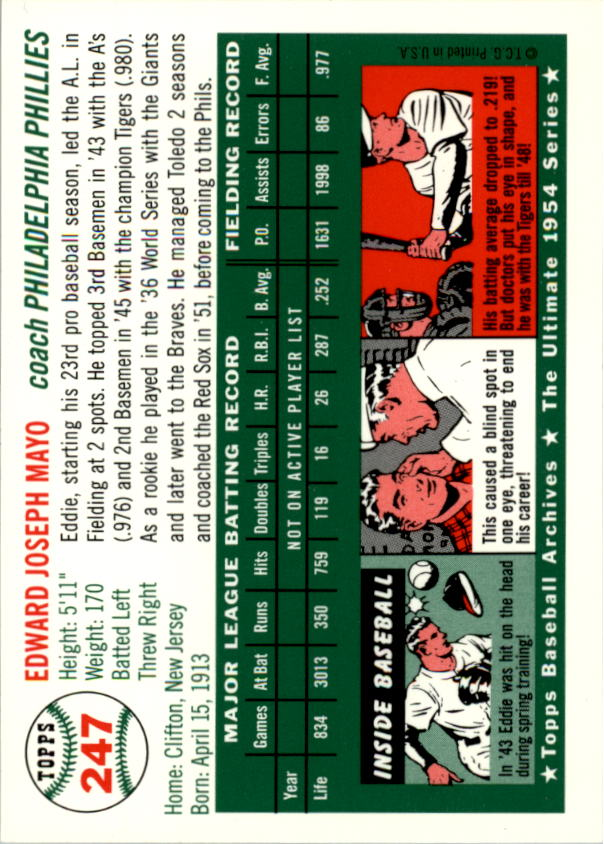 1994-Topps-Archives-1954-BB-Card-s-1-258-A1243-You-Pick-10-FREE-SHIP thumbnail 389