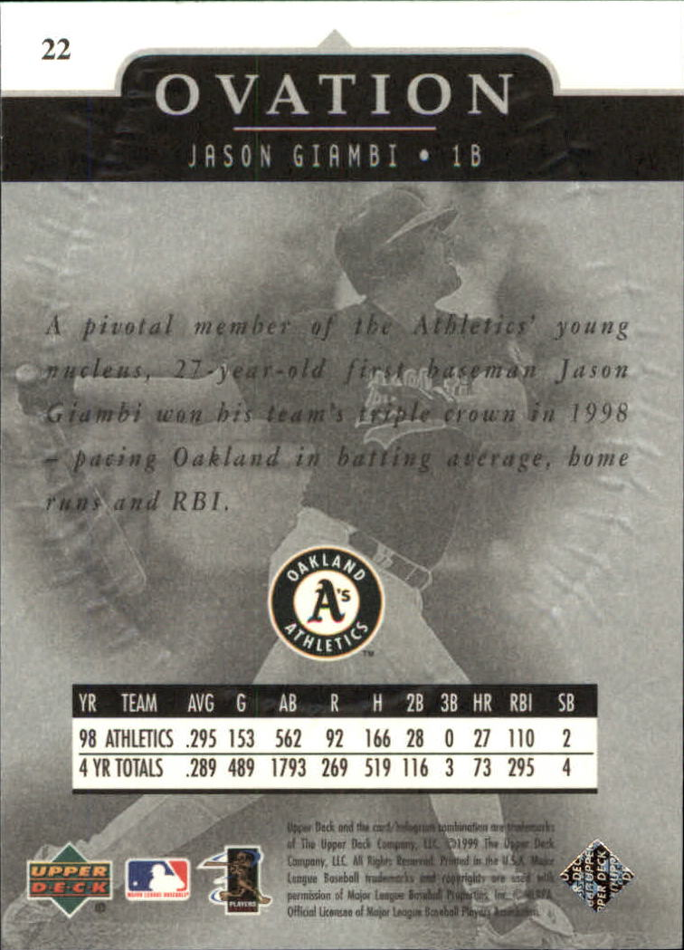 1999-Upper-Deck-Ovation-Baseball-Cards-Pick-From-List thumbnail 41