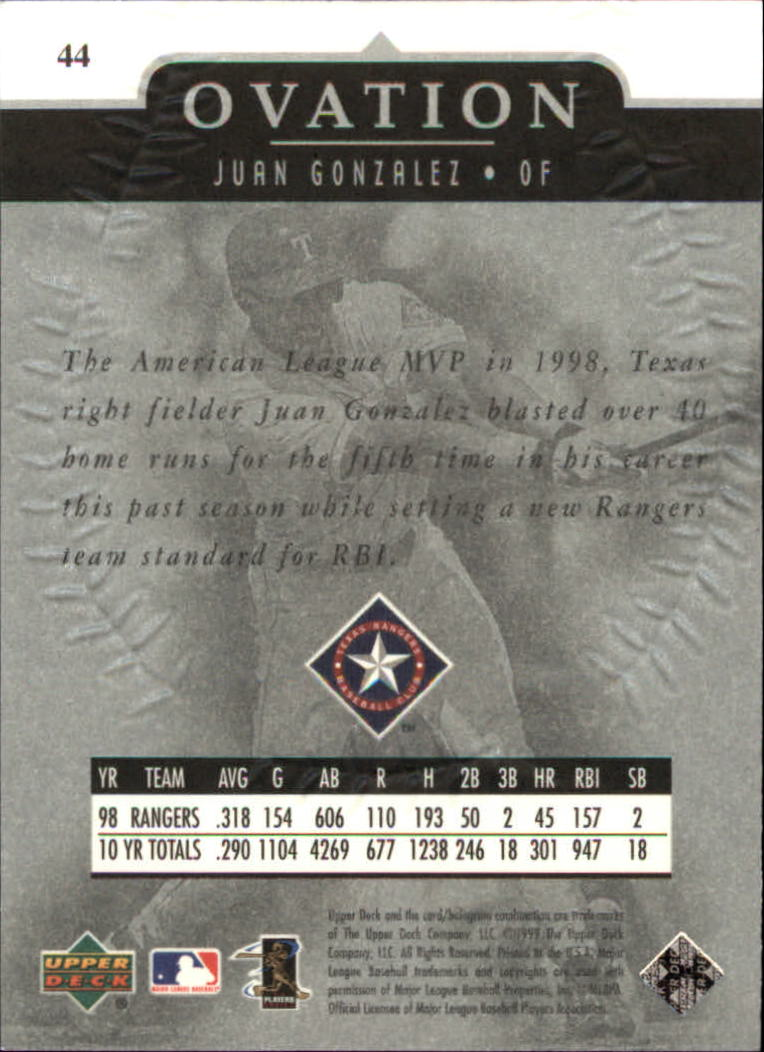 1999-Upper-Deck-Ovation-Baseball-Cards-Pick-From-List thumbnail 79