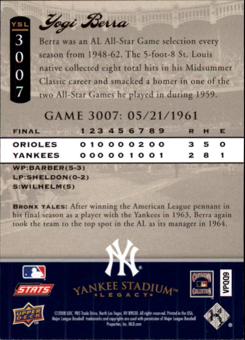 miniature 3 - 2008 UPPER DECK YANKEE STADIUM LEGACY COLLECTION #3000-3999 YOU PICK