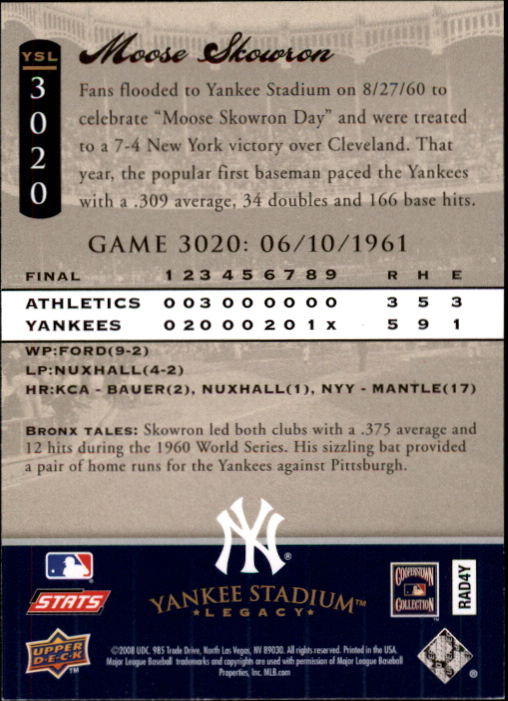 miniature 6 - 2008 UPPER DECK YANKEE STADIUM LEGACY COLLECTION #3000-3999 YOU PICK
