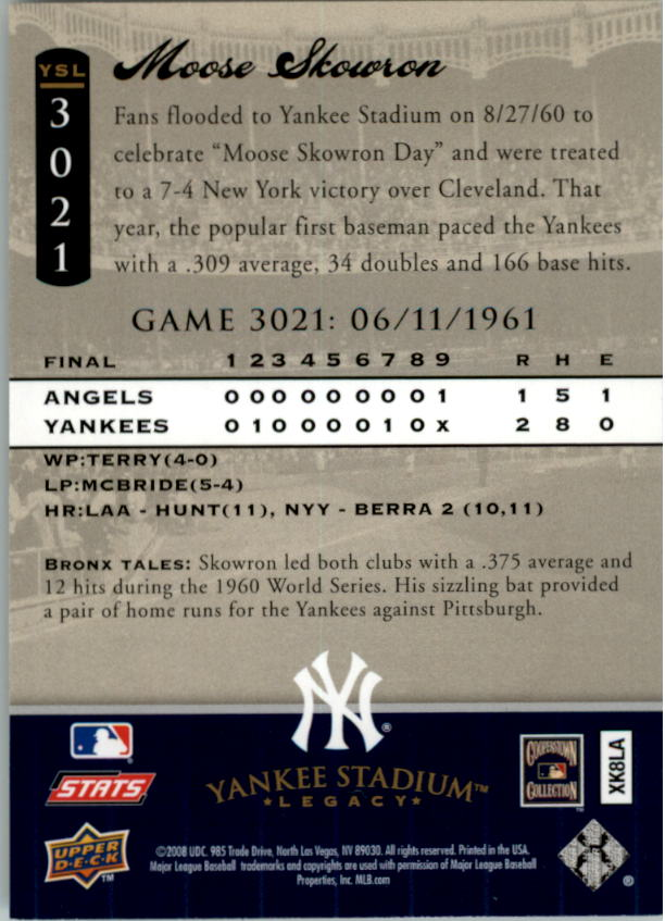 miniature 8 - 2008 UPPER DECK YANKEE STADIUM LEGACY COLLECTION #3000-3999 YOU PICK