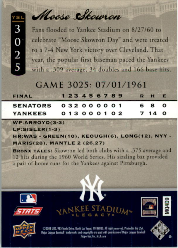 miniature 10 - 2008 UPPER DECK YANKEE STADIUM LEGACY COLLECTION #3000-3999 YOU PICK