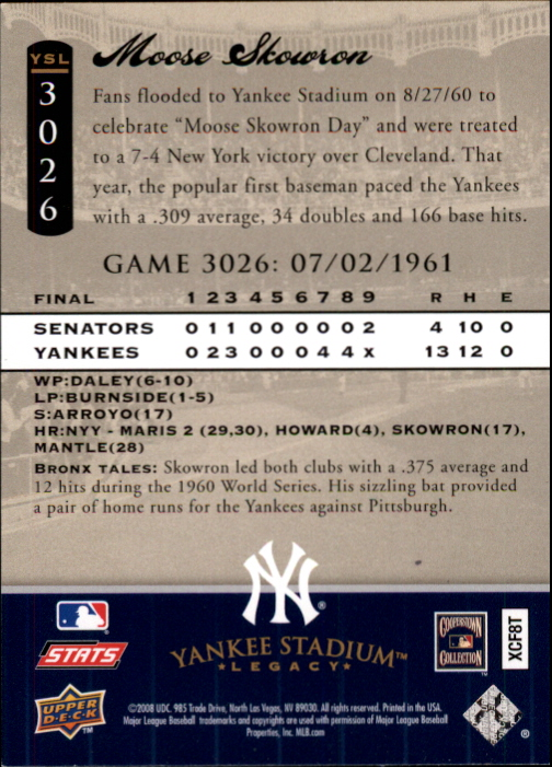 miniature 12 - 2008 UPPER DECK YANKEE STADIUM LEGACY COLLECTION #3000-3999 YOU PICK