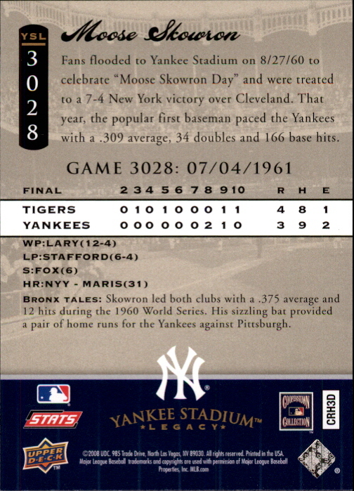 miniature 14 - 2008 UPPER DECK YANKEE STADIUM LEGACY COLLECTION #3000-3999 YOU PICK