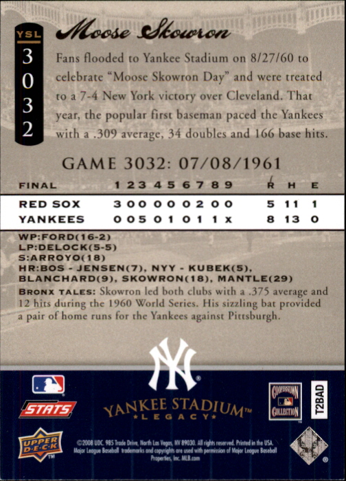 miniature 16 - 2008 UPPER DECK YANKEE STADIUM LEGACY COLLECTION #3000-3999 YOU PICK