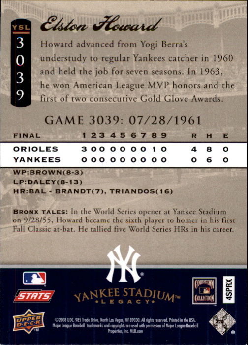 miniature 18 - 2008 UPPER DECK YANKEE STADIUM LEGACY COLLECTION #3000-3999 YOU PICK