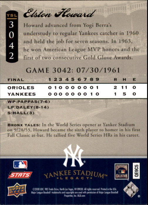 miniature 20 - 2008 UPPER DECK YANKEE STADIUM LEGACY COLLECTION #3000-3999 YOU PICK