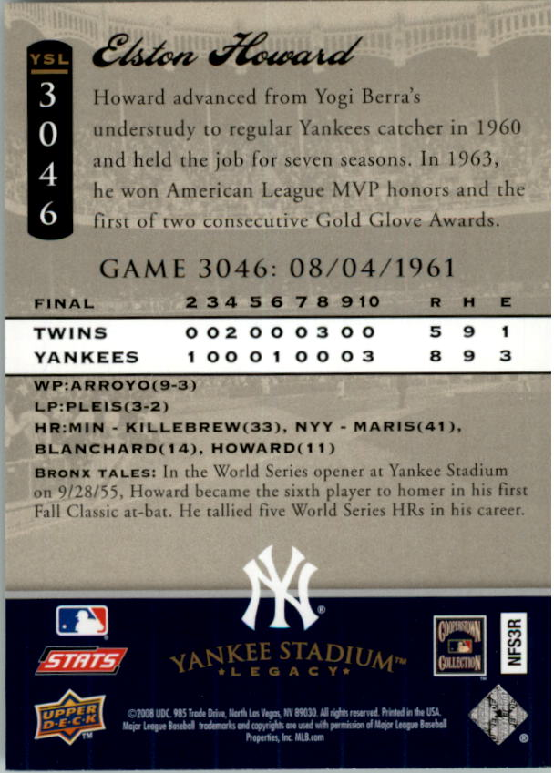 miniature 22 - 2008 UPPER DECK YANKEE STADIUM LEGACY COLLECTION #3000-3999 YOU PICK
