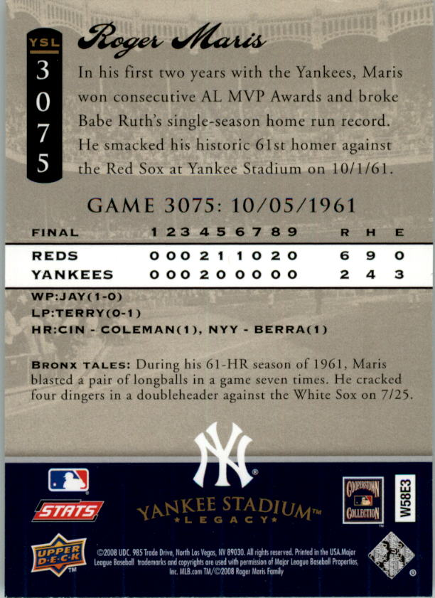 miniature 27 - 2008 UPPER DECK YANKEE STADIUM LEGACY COLLECTION #3000-3999 YOU PICK