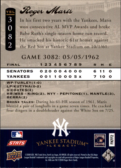 miniature 30 - 2008 UPPER DECK YANKEE STADIUM LEGACY COLLECTION #3000-3999 YOU PICK