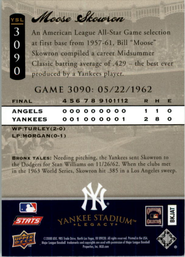 miniature 33 - 2008 UPPER DECK YANKEE STADIUM LEGACY COLLECTION #3000-3999 YOU PICK