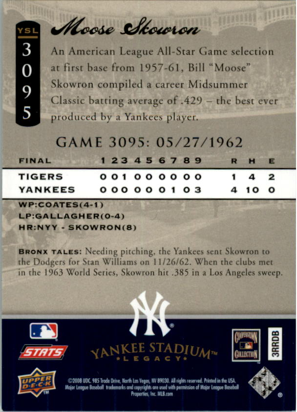 miniature 35 - 2008 UPPER DECK YANKEE STADIUM LEGACY COLLECTION #3000-3999 YOU PICK
