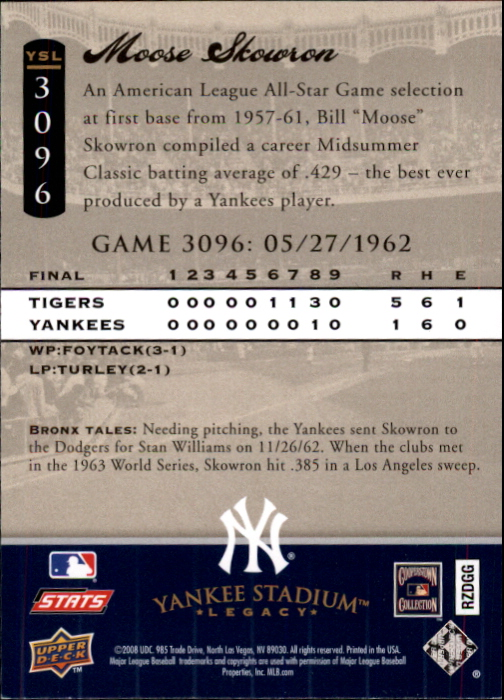 miniature 37 - 2008 UPPER DECK YANKEE STADIUM LEGACY COLLECTION #3000-3999 YOU PICK