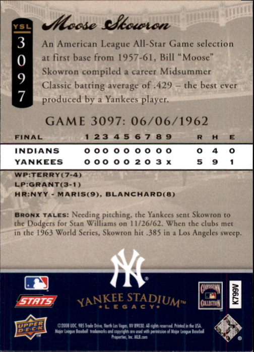 miniature 39 - 2008 UPPER DECK YANKEE STADIUM LEGACY COLLECTION #3000-3999 YOU PICK