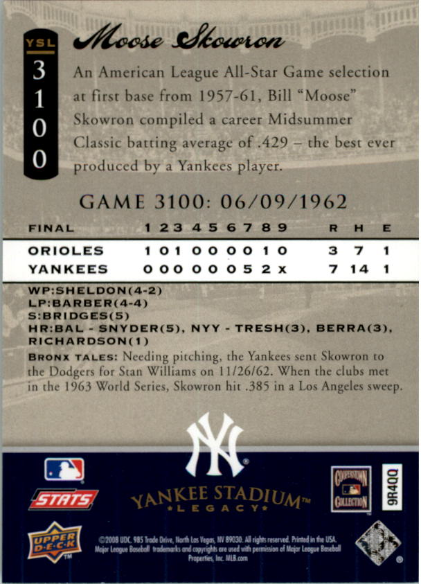 miniature 41 - 2008 UPPER DECK YANKEE STADIUM LEGACY COLLECTION #3000-3999 YOU PICK