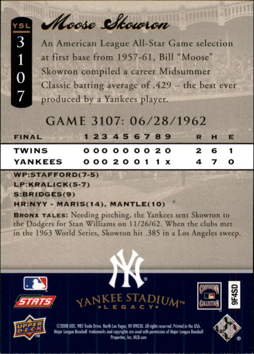 miniature 43 - 2008 UPPER DECK YANKEE STADIUM LEGACY COLLECTION #3000-3999 YOU PICK
