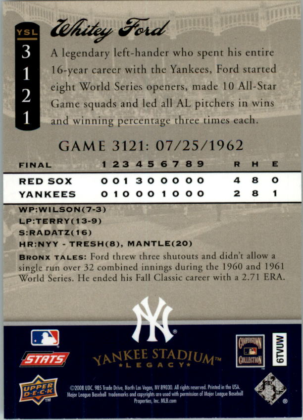 miniature 45 - 2008 UPPER DECK YANKEE STADIUM LEGACY COLLECTION #3000-3999 YOU PICK