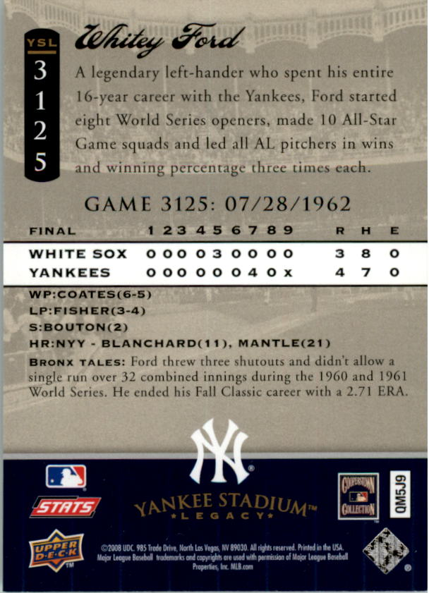 miniature 47 - 2008 UPPER DECK YANKEE STADIUM LEGACY COLLECTION #3000-3999 YOU PICK