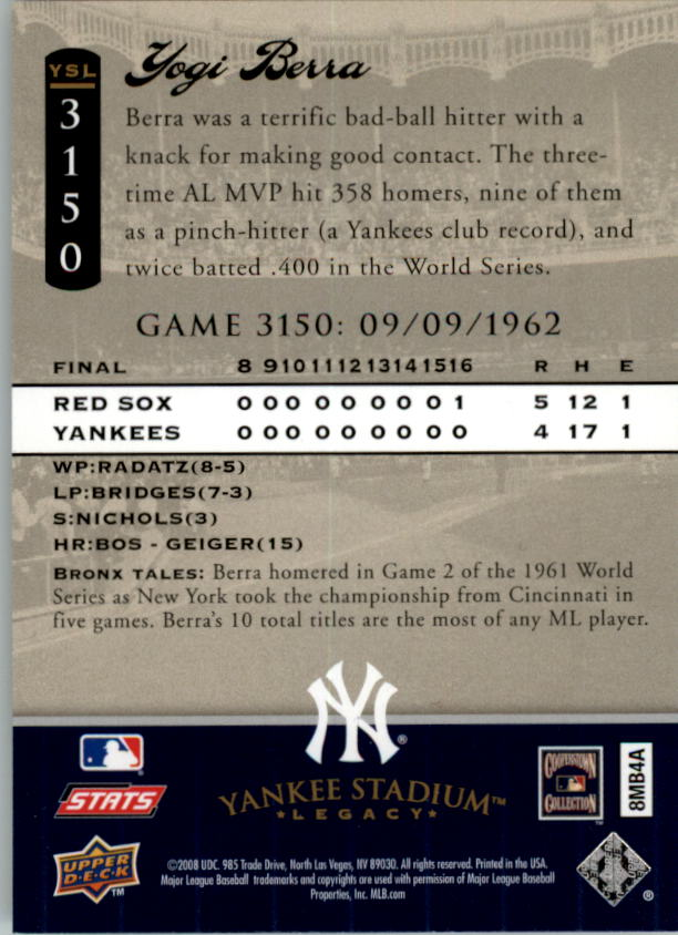 miniature 49 - 2008 UPPER DECK YANKEE STADIUM LEGACY COLLECTION #3000-3999 YOU PICK