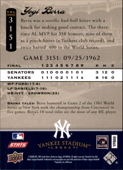 miniature 51 - 2008 UPPER DECK YANKEE STADIUM LEGACY COLLECTION #3000-3999 YOU PICK
