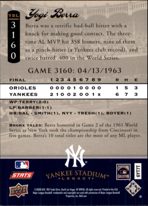 miniature 53 - 2008 UPPER DECK YANKEE STADIUM LEGACY COLLECTION #3000-3999 YOU PICK