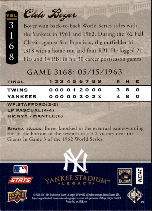 miniature 55 - 2008 UPPER DECK YANKEE STADIUM LEGACY COLLECTION #3000-3999 YOU PICK