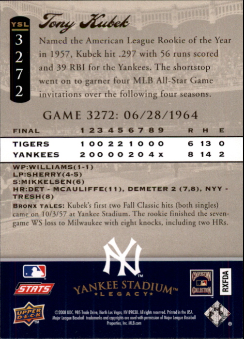 miniature 65 - 2008 UPPER DECK YANKEE STADIUM LEGACY COLLECTION #3000-3999 YOU PICK