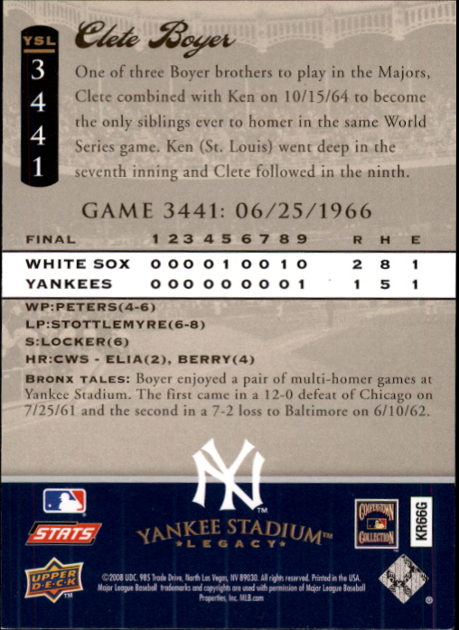 miniature 77 - 2008 UPPER DECK YANKEE STADIUM LEGACY COLLECTION #3000-3999 YOU PICK