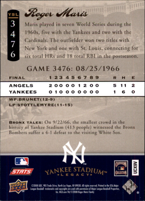 miniature 82 - 2008 UPPER DECK YANKEE STADIUM LEGACY COLLECTION #3000-3999 YOU PICK