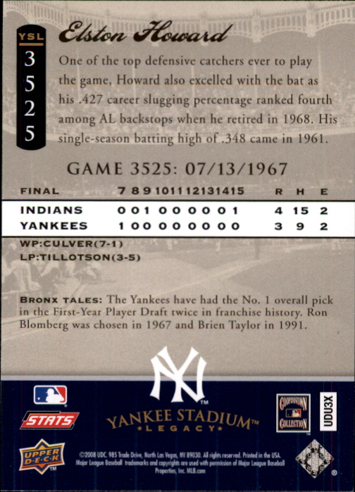 miniature 85 - 2008 UPPER DECK YANKEE STADIUM LEGACY COLLECTION #3000-3999 YOU PICK