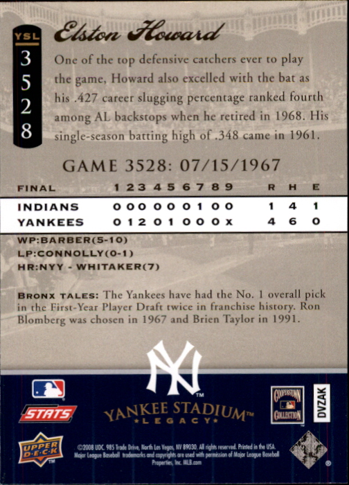 miniature 87 - 2008 UPPER DECK YANKEE STADIUM LEGACY COLLECTION #3000-3999 YOU PICK