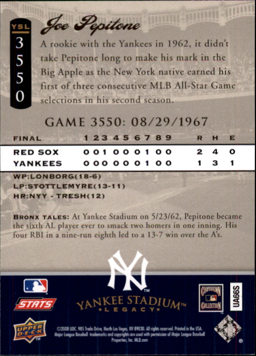 miniature 91 - 2008 UPPER DECK YANKEE STADIUM LEGACY COLLECTION #3000-3999 YOU PICK