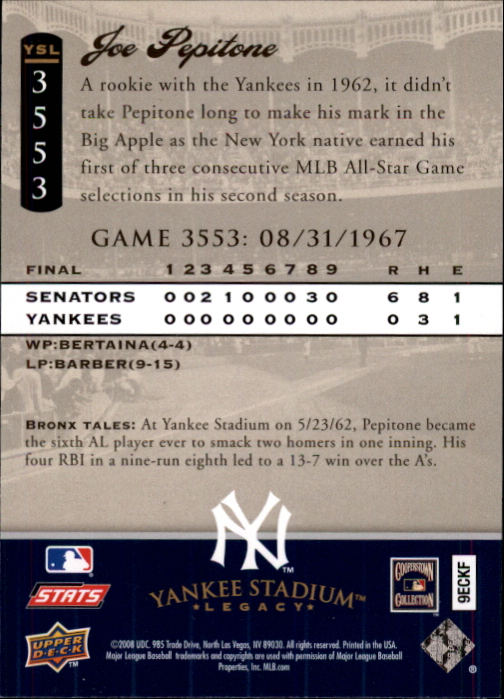miniature 94 - 2008 UPPER DECK YANKEE STADIUM LEGACY COLLECTION #3000-3999 YOU PICK