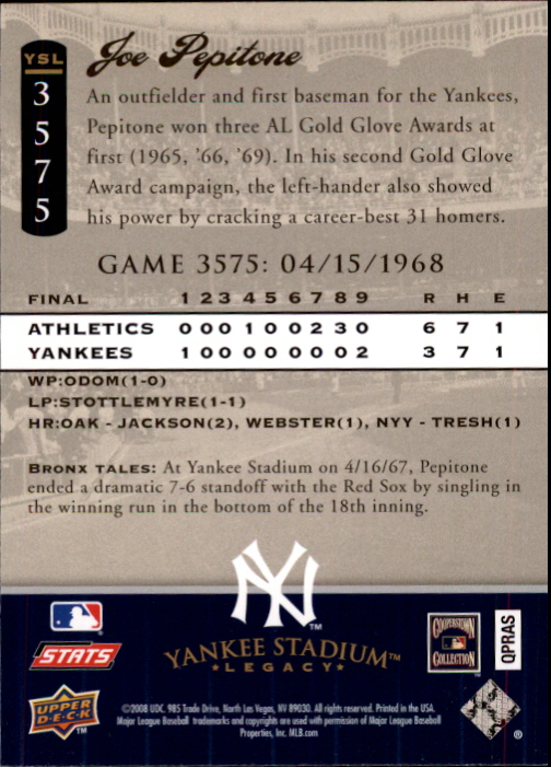 miniature 97 - 2008 UPPER DECK YANKEE STADIUM LEGACY COLLECTION #3000-3999 YOU PICK