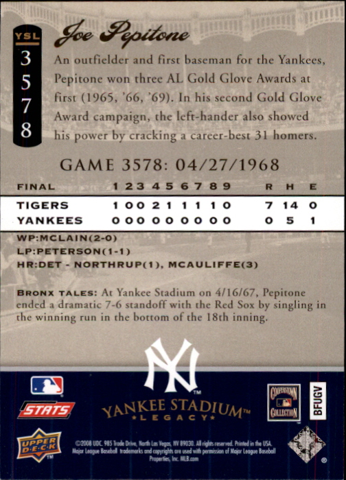 miniature 99 - 2008 UPPER DECK YANKEE STADIUM LEGACY COLLECTION #3000-3999 YOU PICK