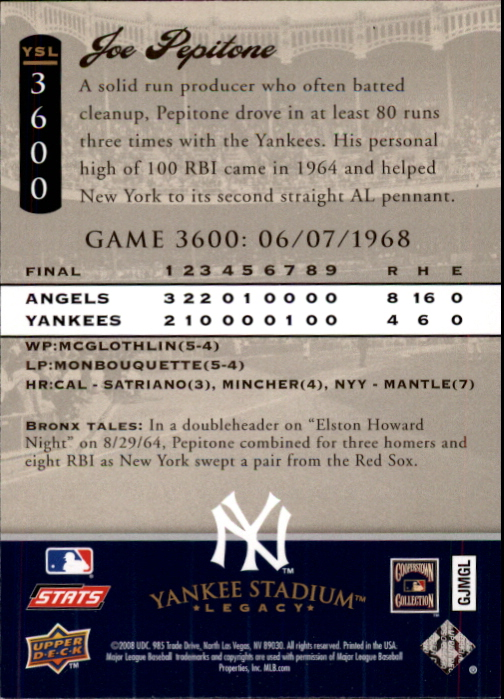 miniature 102 - 2008 UPPER DECK YANKEE STADIUM LEGACY COLLECTION #3000-3999 YOU PICK