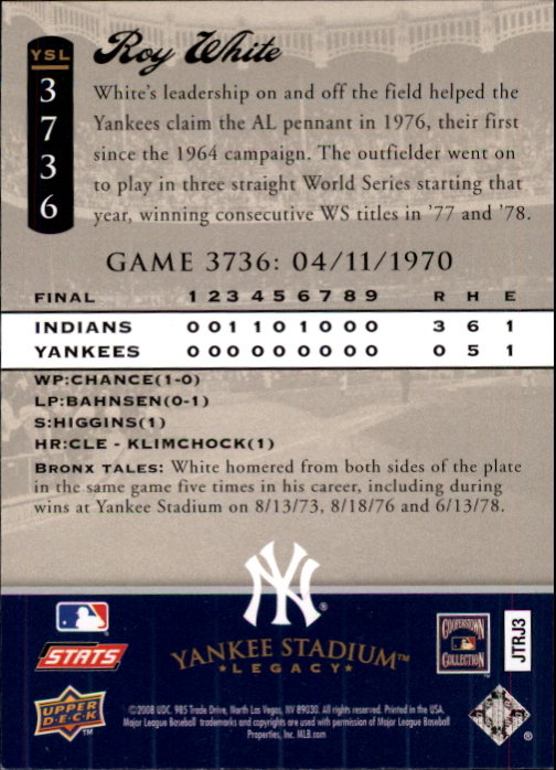 miniature 107 - 2008 UPPER DECK YANKEE STADIUM LEGACY COLLECTION #3000-3999 YOU PICK
