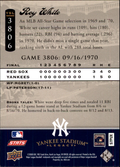 miniature 114 - 2008 UPPER DECK YANKEE STADIUM LEGACY COLLECTION #3000-3999 YOU PICK