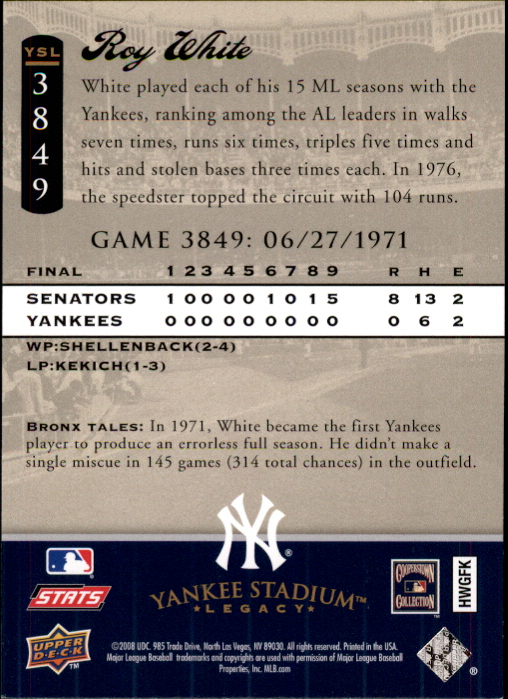 miniature 118 - 2008 UPPER DECK YANKEE STADIUM LEGACY COLLECTION #3000-3999 YOU PICK