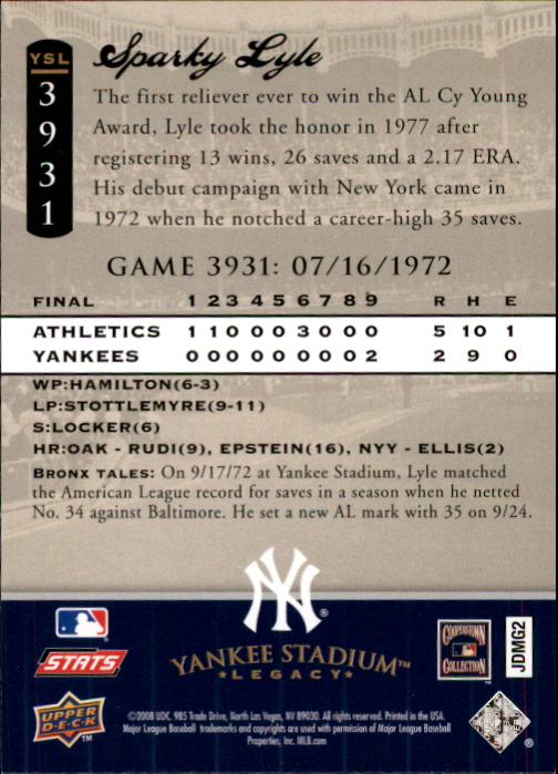 miniature 124 - 2008 UPPER DECK YANKEE STADIUM LEGACY COLLECTION #3000-3999 YOU PICK