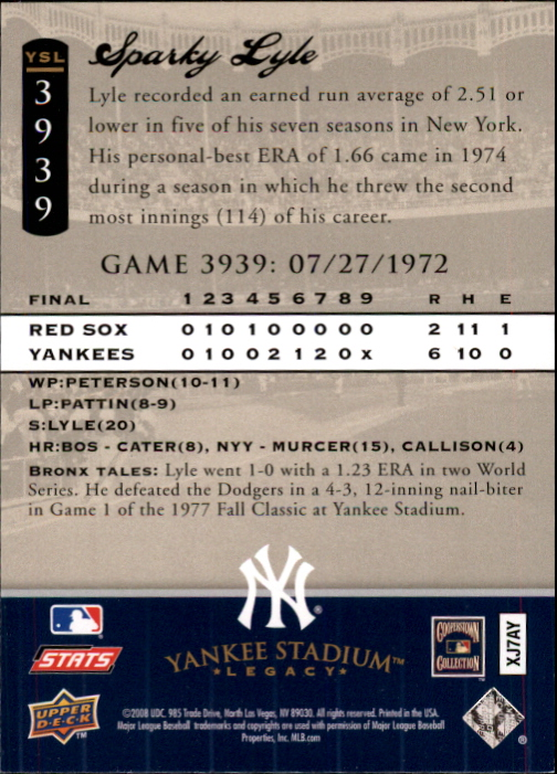 miniature 126 - 2008 UPPER DECK YANKEE STADIUM LEGACY COLLECTION #3000-3999 YOU PICK